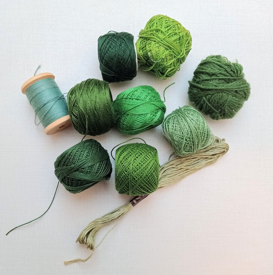 Green embroidery threads