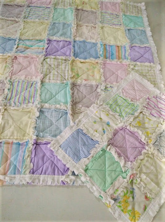 Baby rag quilt with matching lovey quilt