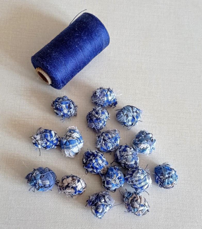 Hand stitched fabric beads