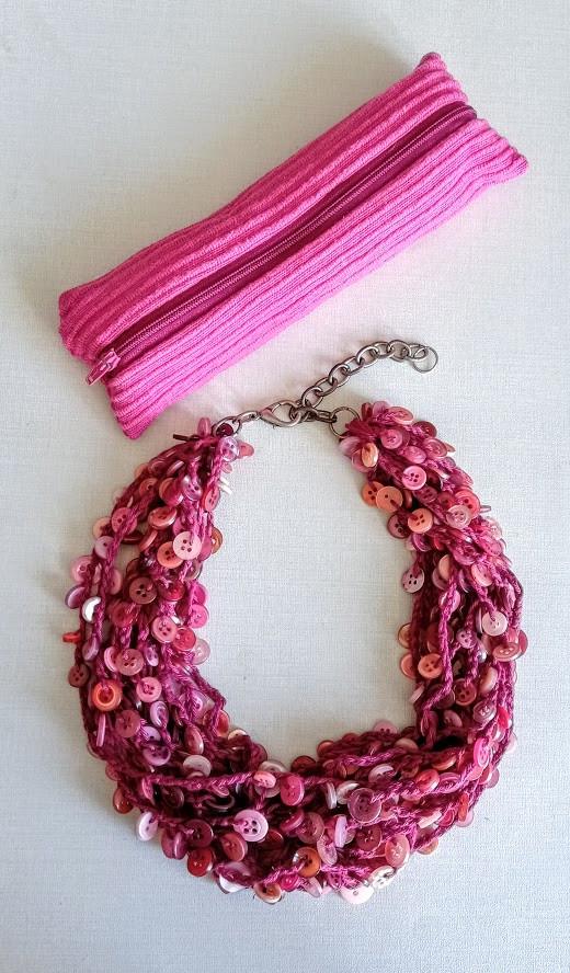 Fuschia pink button necklace