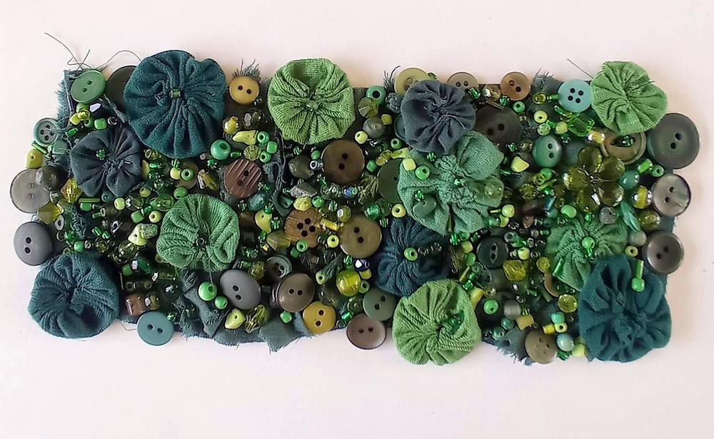 Bead embellished fabric art