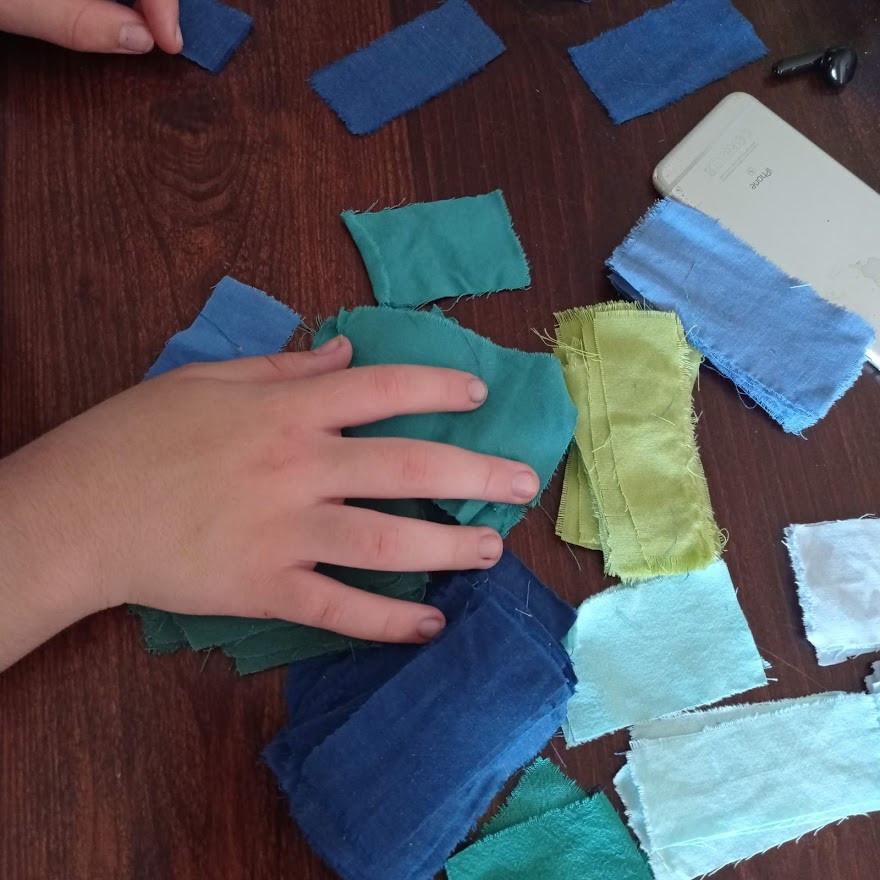 Blue and green fabrics