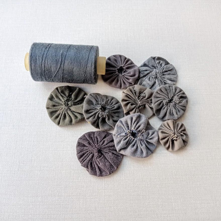Grey fruit fabric yoyos