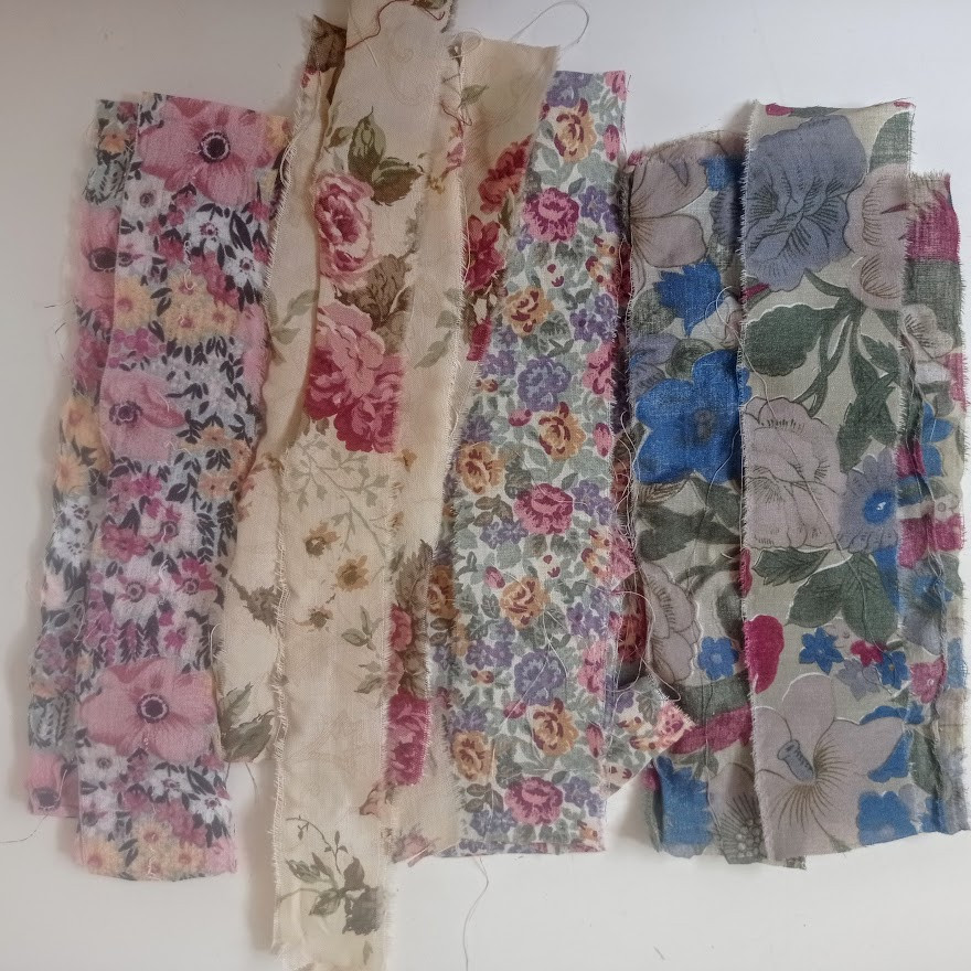 Floral fabric strips