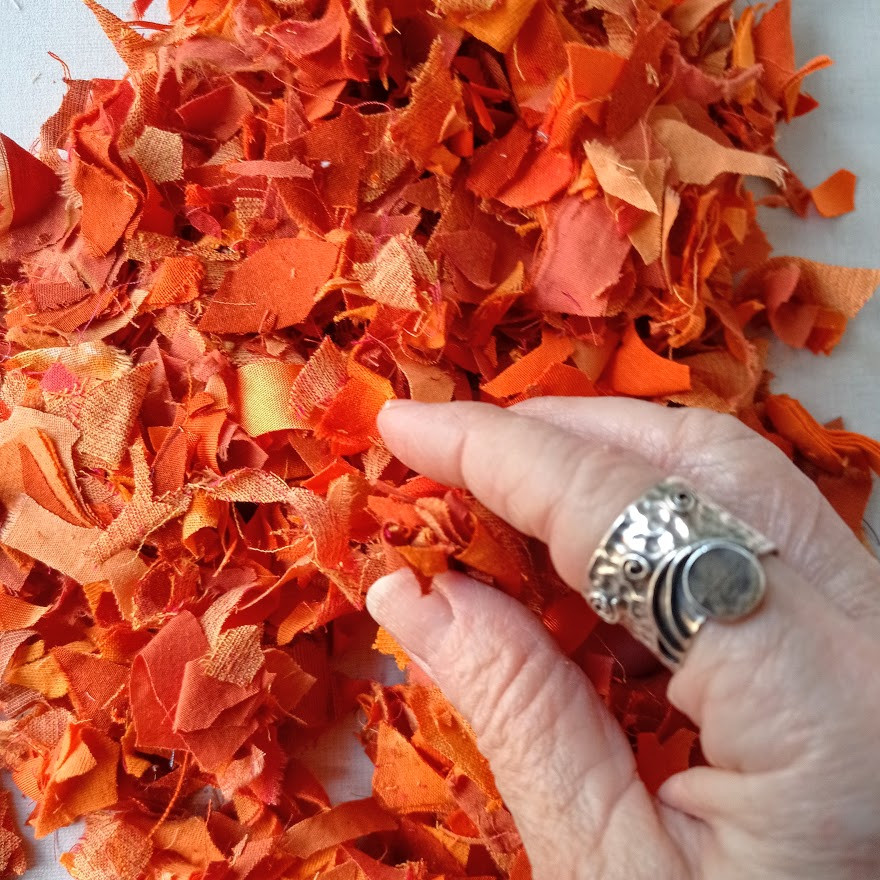 Orange fabric confetti