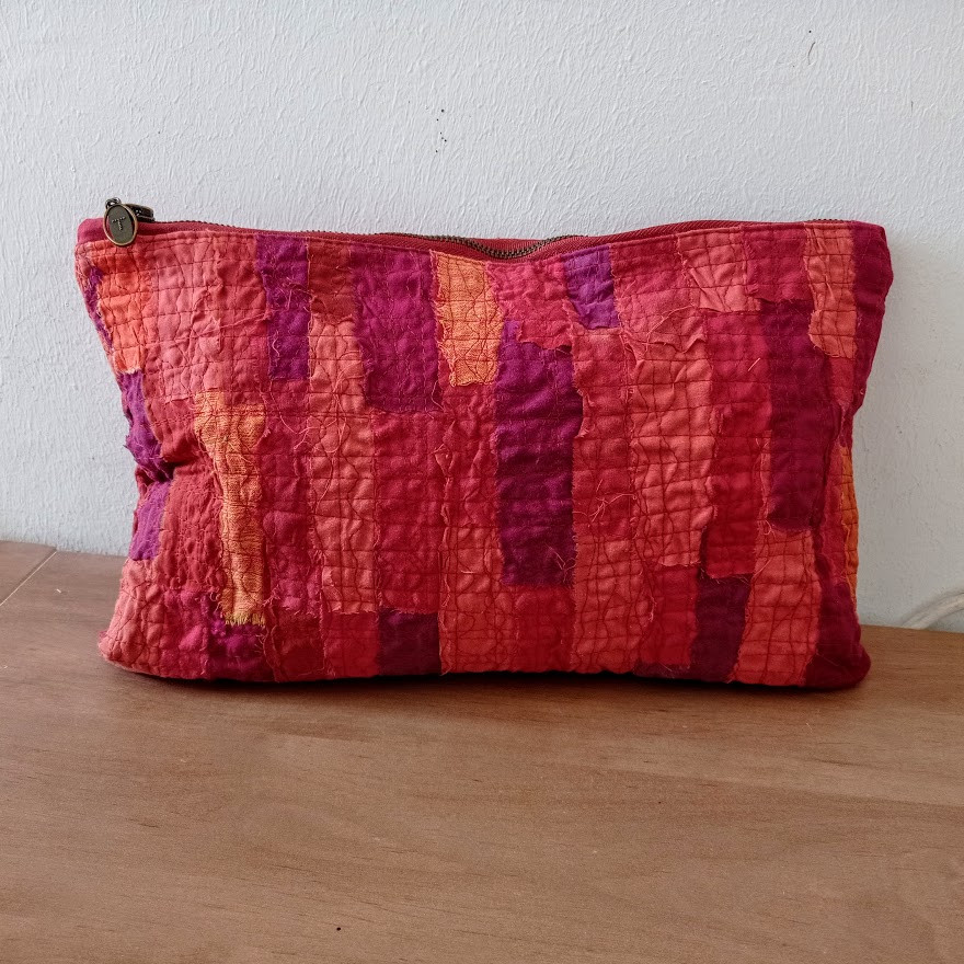 Quilted , zippered fabric pouch