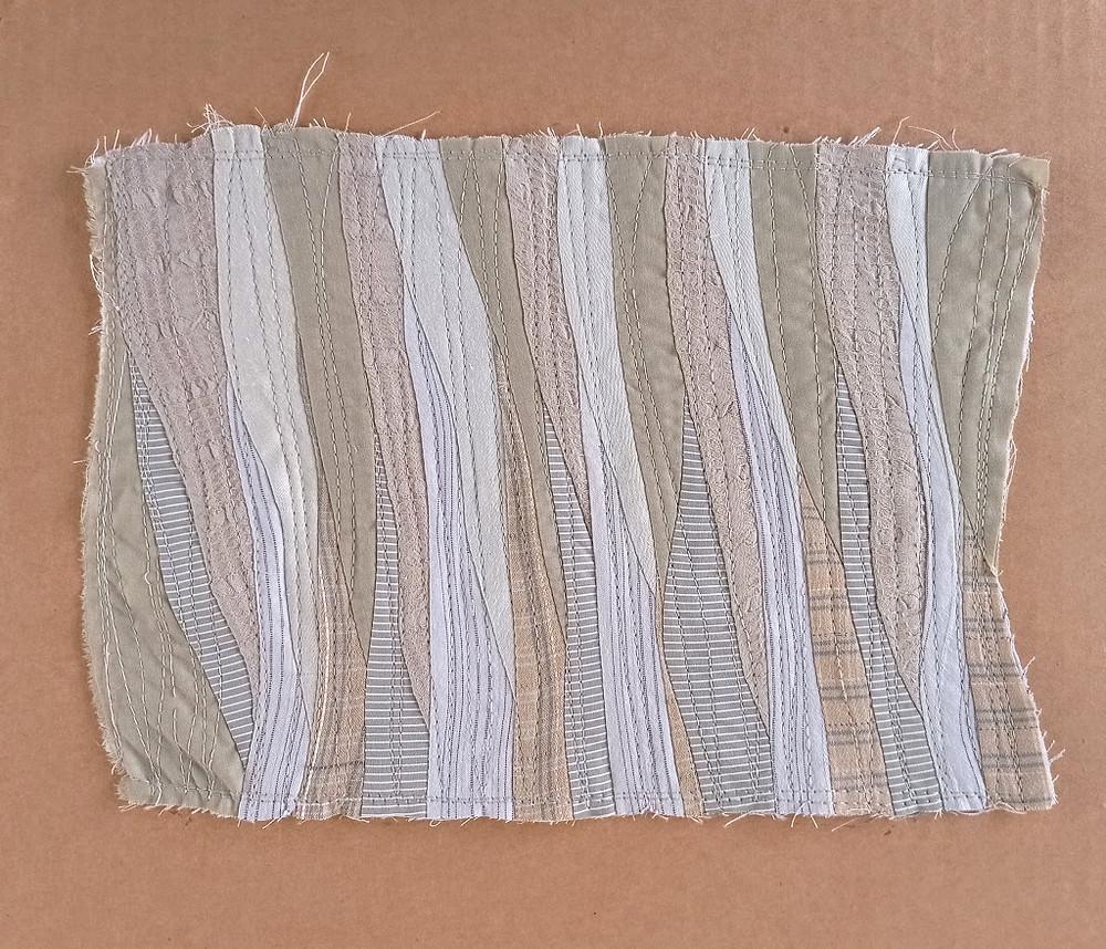 Olive wave patchwork art