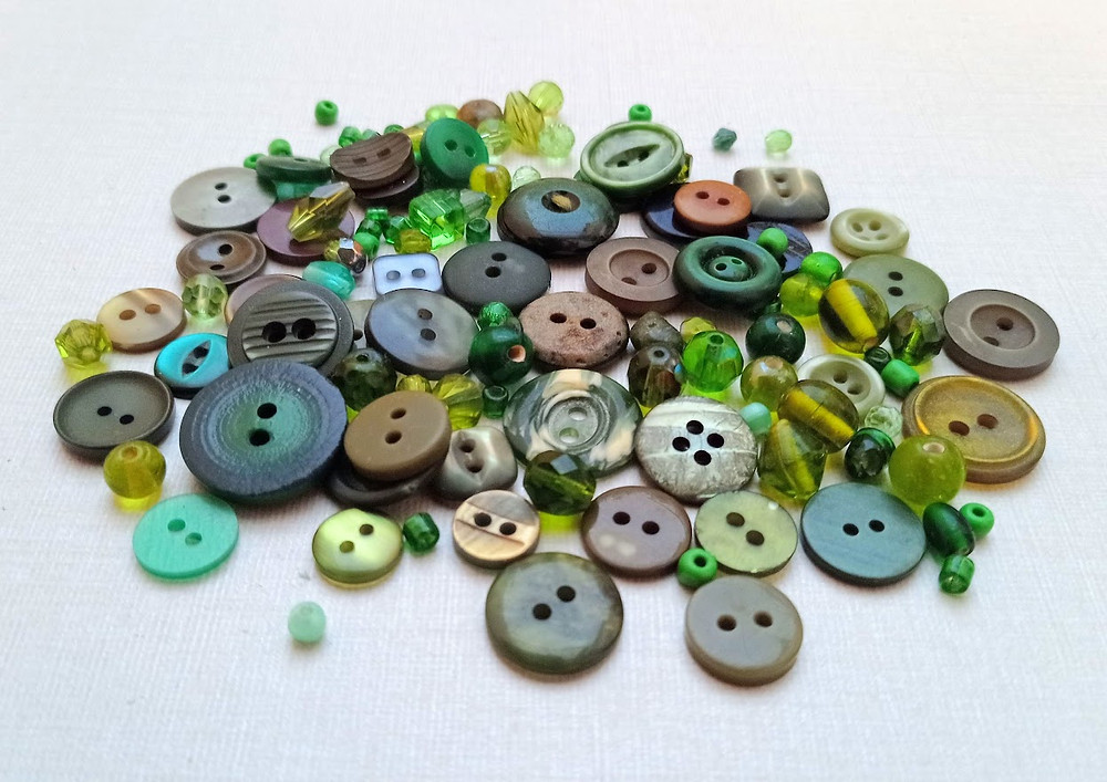 Green buttons and beads