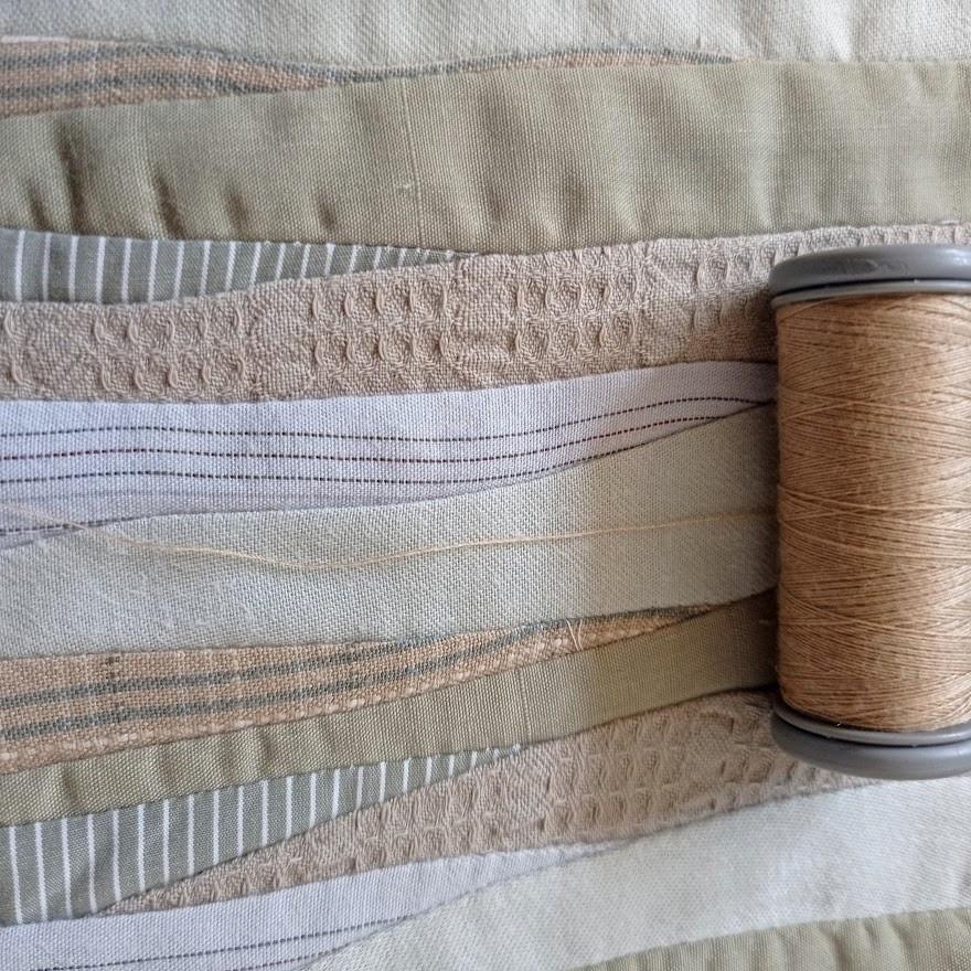 Beige brown thread
