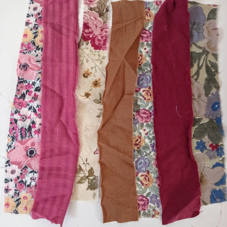 Plum berry and brown fabric strips