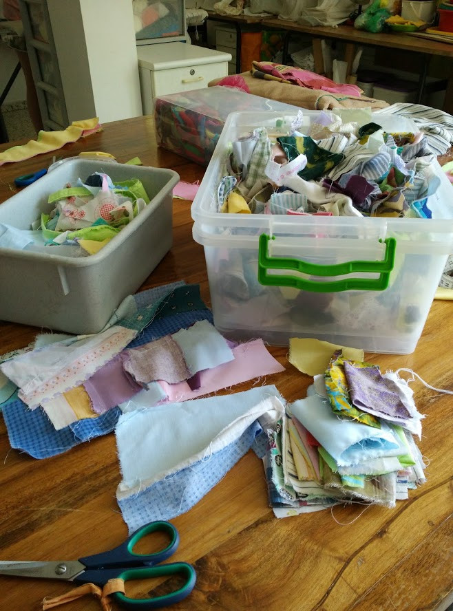 Boxes of fabric remnants