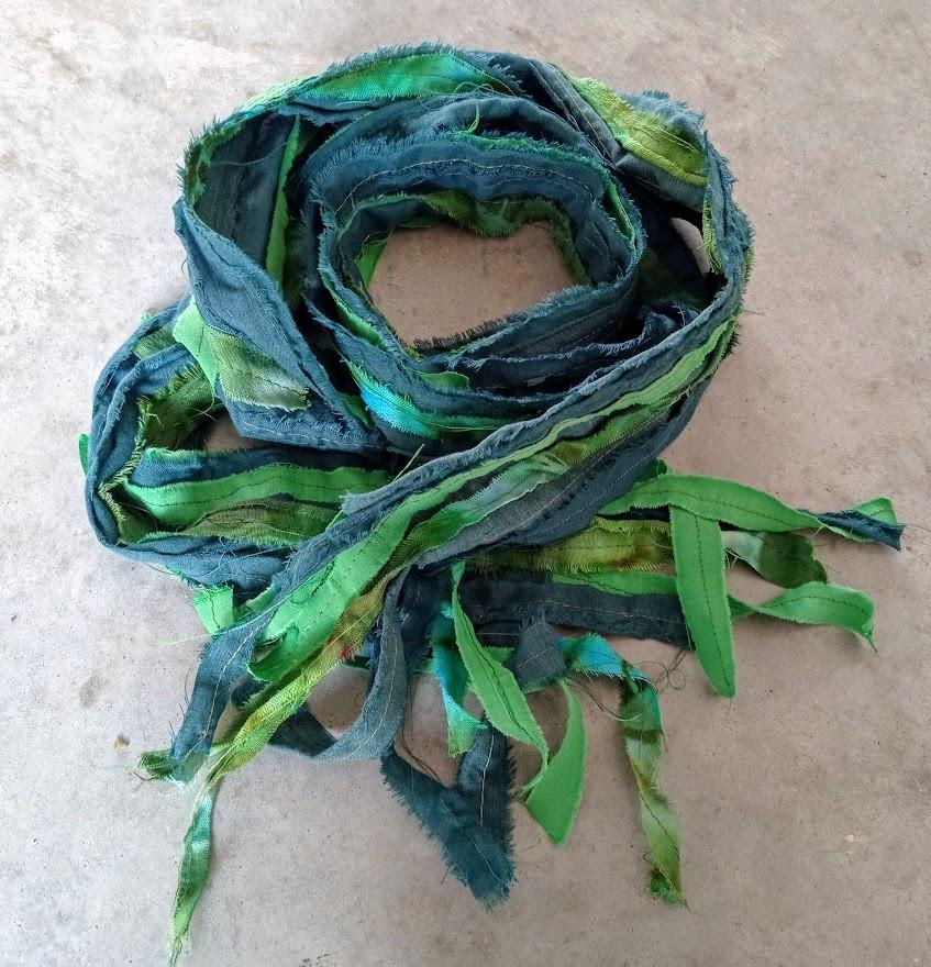 Green fabric scarf
