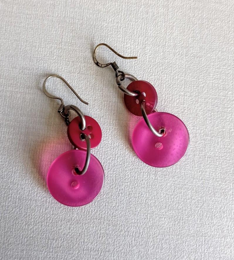 Fuschia pink button earrings