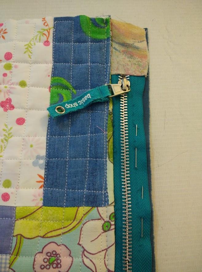 Stitch down zipper on second piece