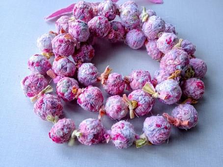 Handmade Fabric Bead Necklace