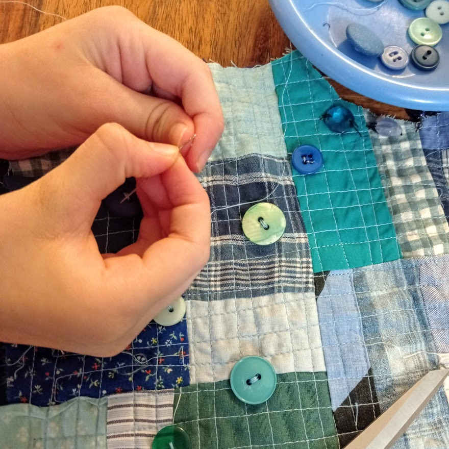 Sewing on buttons