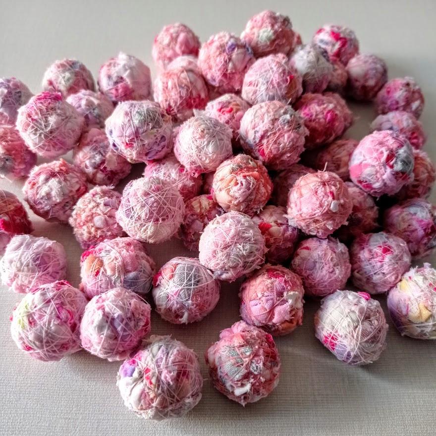 Pink fabric beads