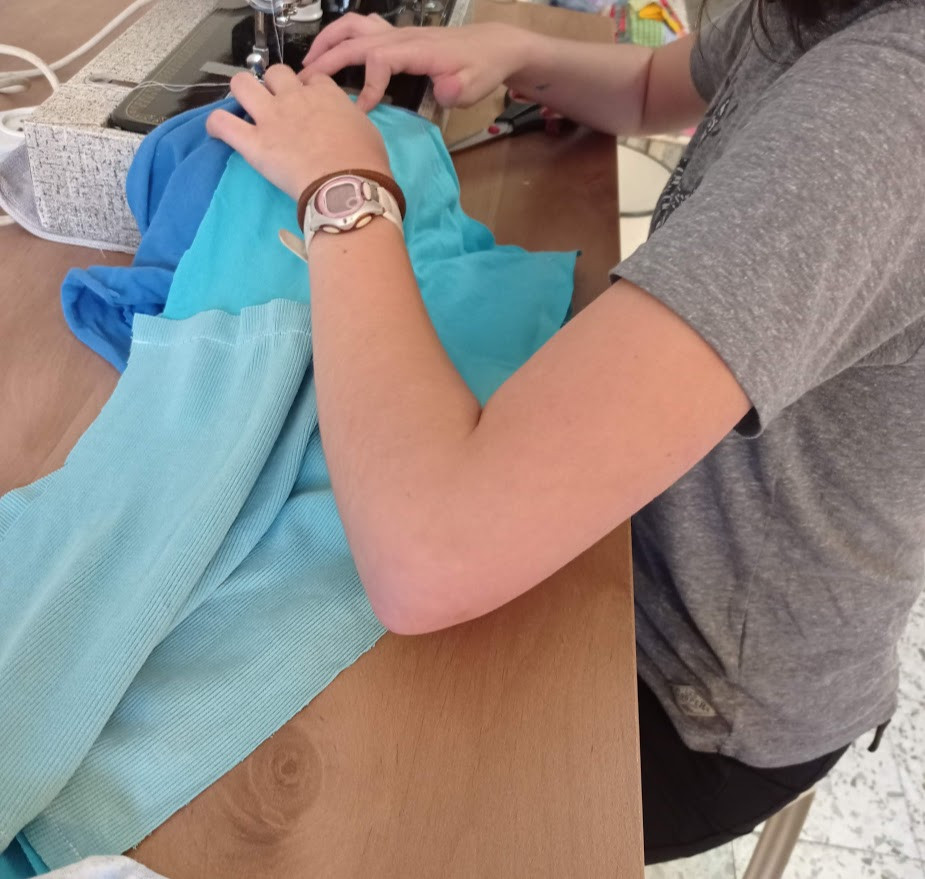 Sewing the straps