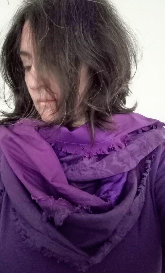 Purple fabric scarf