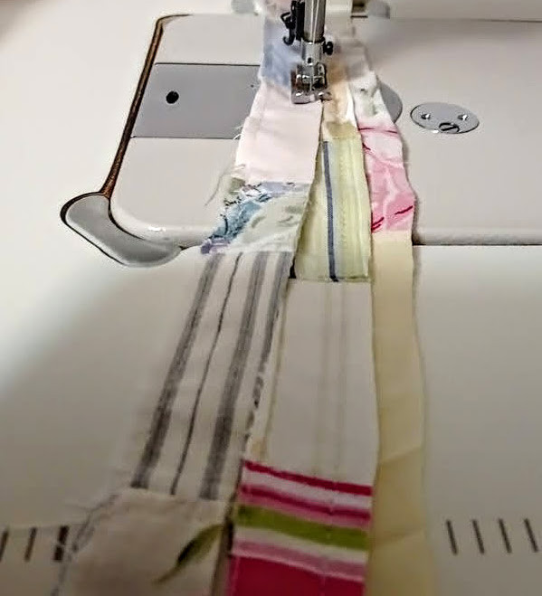 Top stitching strips together