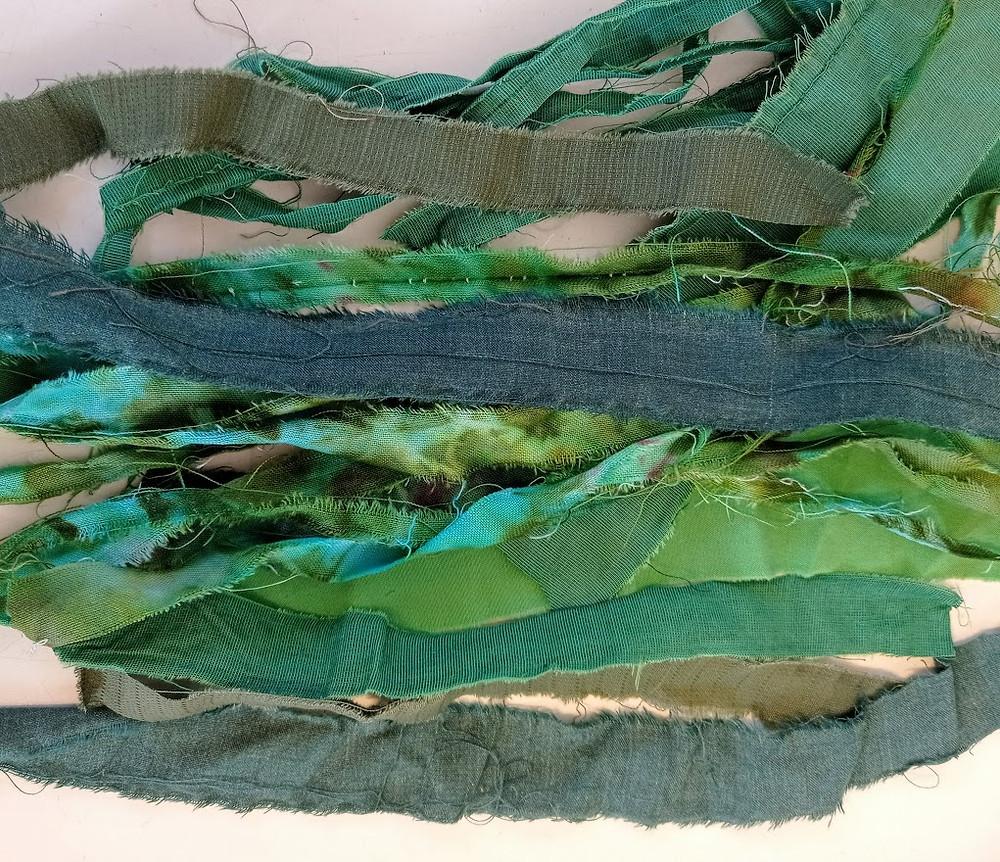 Green fabric strips