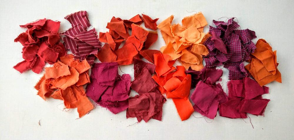 Odd shaped orange fabric scraps