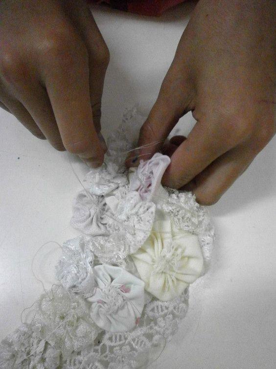 Children Handsewing Yoyo Necklaces