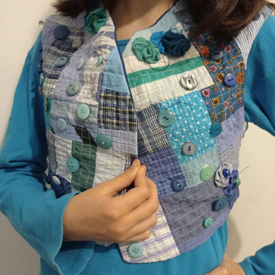 Modelling her vest