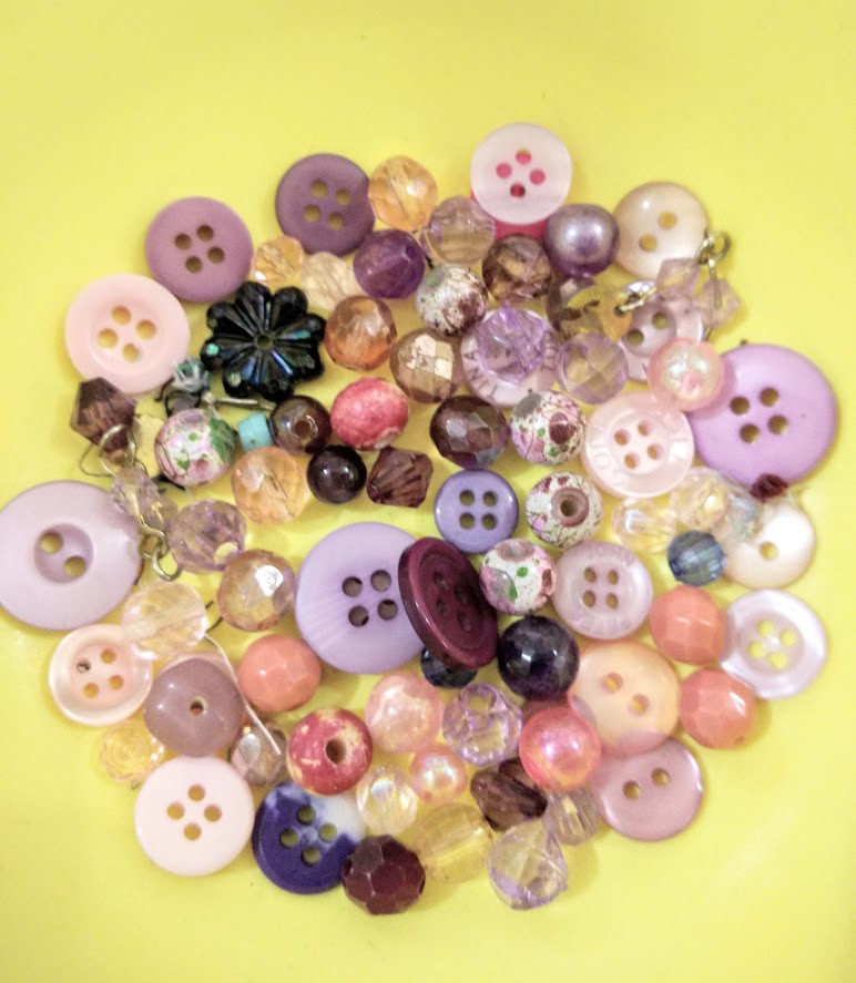 Pink beads and buttons