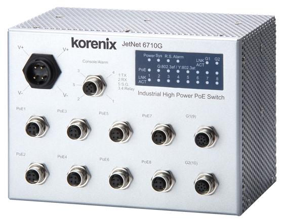 Industrial Managed Ethernet PoE Switch Korenix JetNet 6710G-M12 and  6710-RJ
