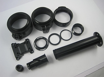 Black anodized aluminum parts