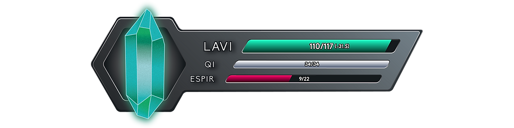 It reads 110 out of 117 Onkh of Lavi, with a net flow of minus 31.5, 34 out of 34 Onkh of Qi, and 9 out of 22 Onkh of Espir.