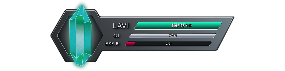 It reads 115 out of 115 Onkh of Lavi, with a net flow of +11, 32 out of 32 Onkh of Qi, and 2 out of 21 Onkh of Espir.