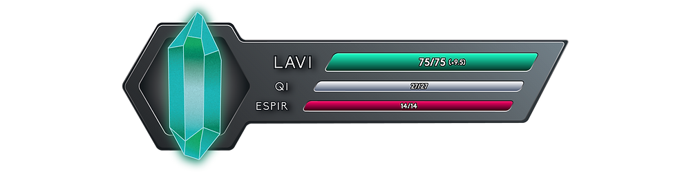 My Status Bar reads 75 out of 75 Onkh of Lavi, with a net flow of +9.5, 27 out of 27 Onkh of Qi, and now features a third bar for Espir, that reads 14 out of 14.