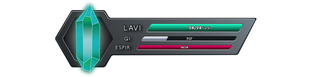 It reads 94 out of 94 Onkh of Lavi, with a net flow of +2.5, 12 out of 27 Onkh of Qi, and 14 out of 14 Onkh of Espir.
