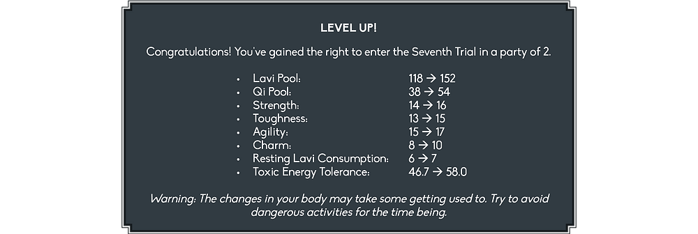 At the top, the window reads: Level up! Congratulations! You've gained the right to enter the Seventh Trial, in a party of two. This is followed by a list of the following stat increases: my Lavi Pool grew from 118 to 152 and my Qi Pool from 38 to 54. My Strength rose from 14 to 16, my Toughness from 13 to 15, my Agility from 15 to 17, my Charm from 8 to 10, and my Resting Lavi Consumption increased from 6 to 7 Onkh per minute. Finally, my Toxic Energy Tolerance went from 46.7 to 58%. Below that, it says: Warning: The changes in your body may take some getting used to. Try to avoid dangerous activities for the time being.