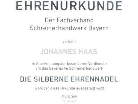 Ehrenurkunde für Johannes Haas