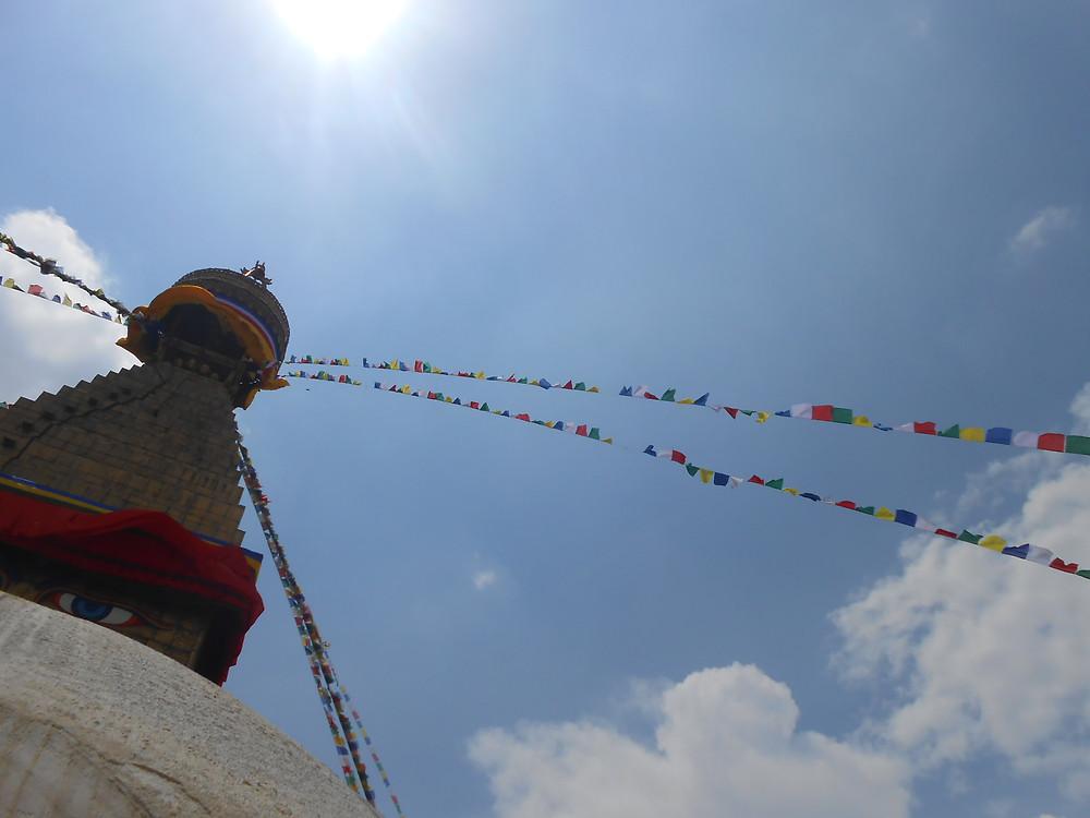 Kathmandu - Bouda Stupa - Buddhist full moon in April, sponsorship of prayer flags