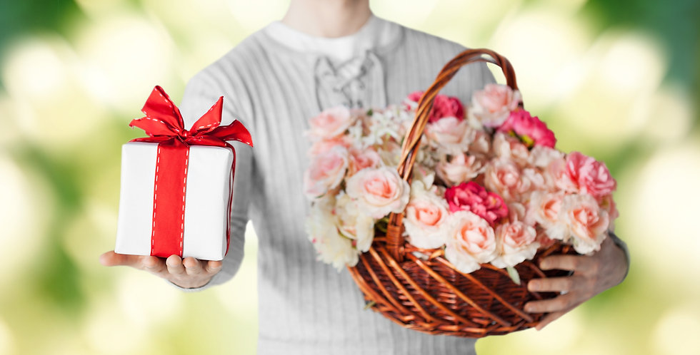 Jumbo flower basket and chocolate