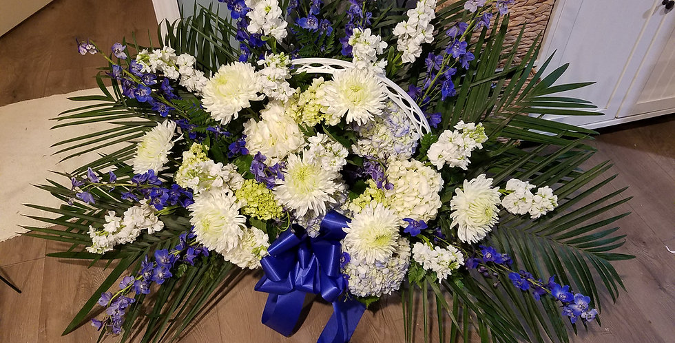 Funeral basket blue and white