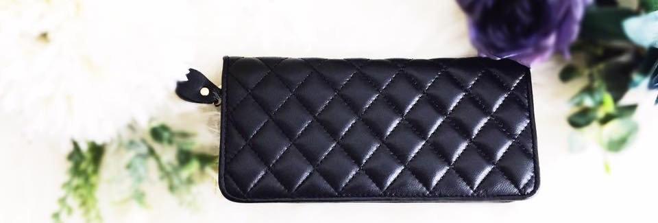 菱格車縫羊皮錢包(黑色)