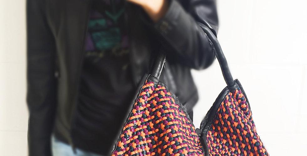 雙拉鍊設計編織羊皮包(橙色)(猄皮手挽,袋身羊皮)