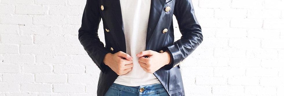 時尚西裝真皮皮衣