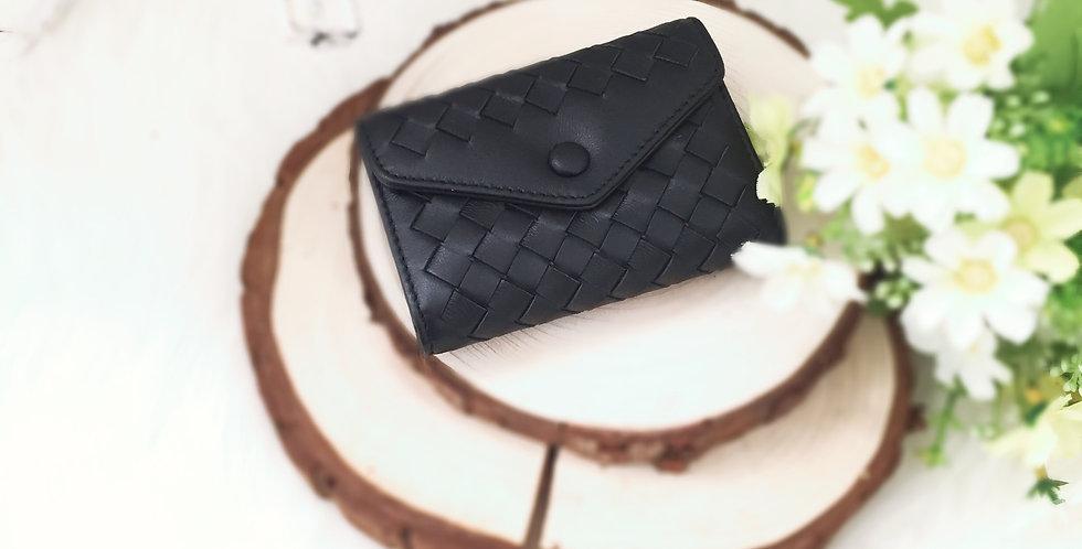 編織風琴式羊皮卡片包(黑色)