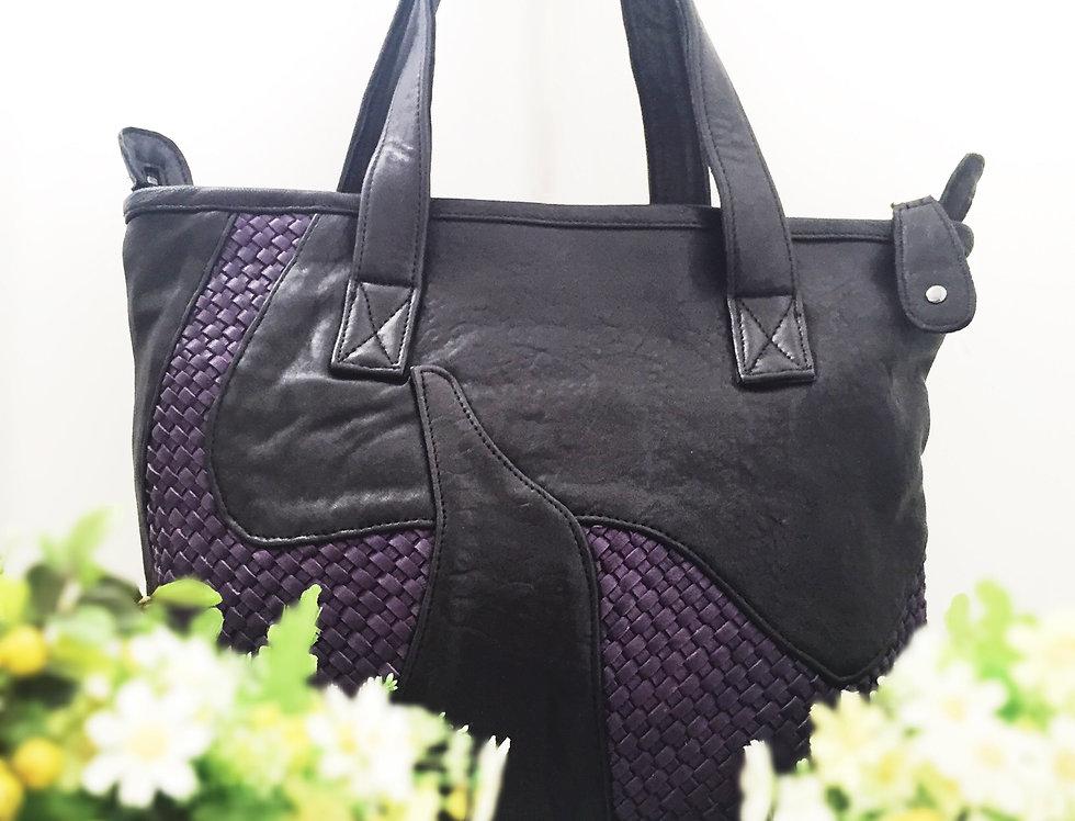 併色編織設計羊皮手挽包