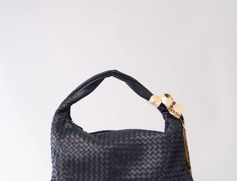 手工編織設計羊皮肩揹包