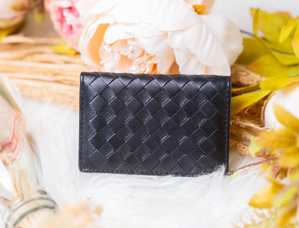 手工編織多用途羊皮卡片包(黑色)