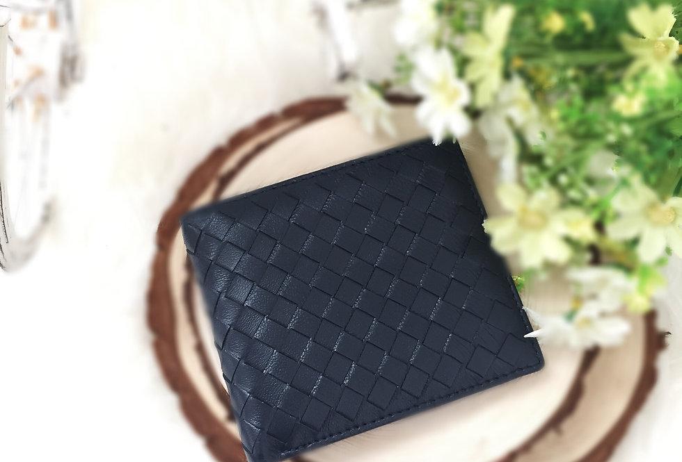 編織羊皮錢包(黑色)