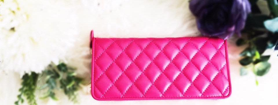 菱格車縫羊皮錢包(桃紅色)