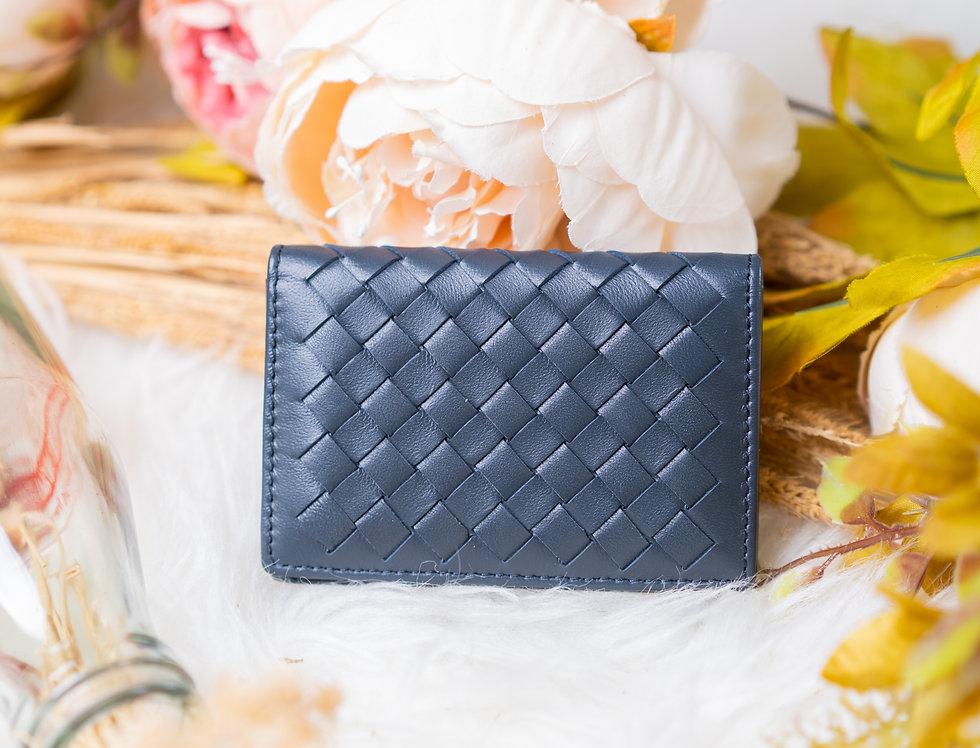 手工編織多用途羊皮卡片包(深藍色)